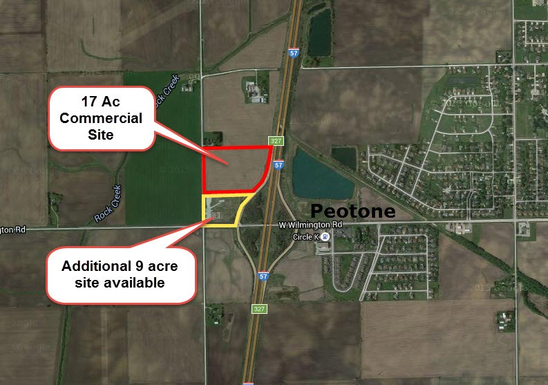 Aerial map of 17 ac & 9 acCommercial land at I-57