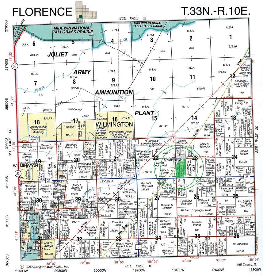 Plat Map of 58 Acres Florence Township, Will County