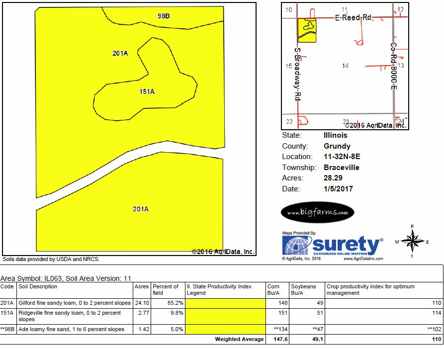 Soil Map of 30 acres Coal City Industrial site