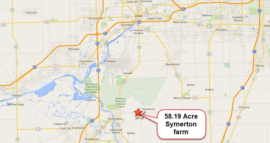 Location Map of 58 Acres Florence Township Will County, Symerton IL