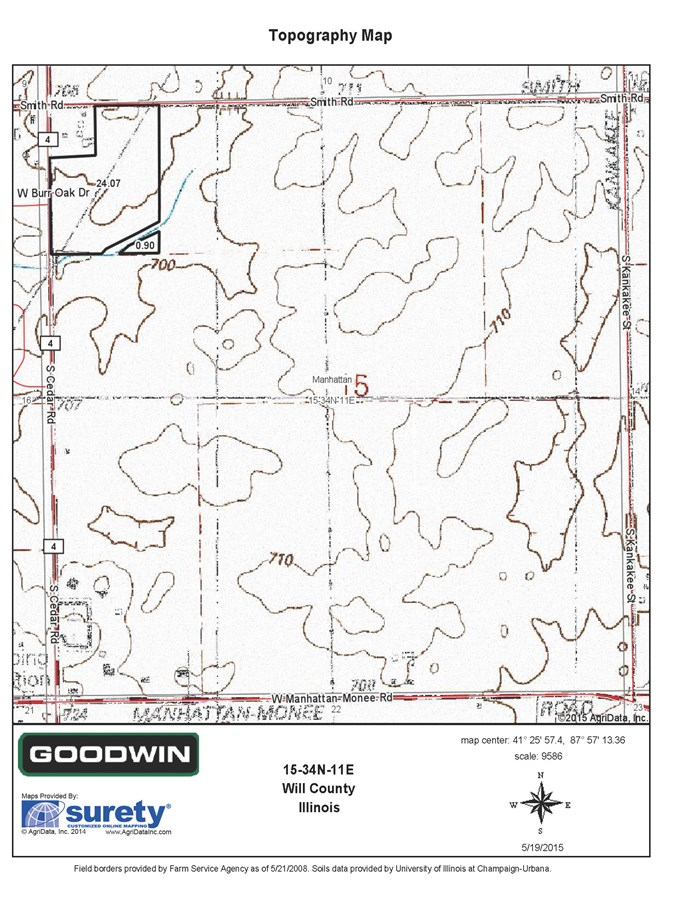 Topographical Map of Cedar Rd Commercial Site, Manhattan Township