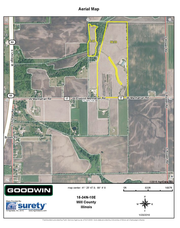 FSA Map for Jackson Township 68 Acres, Will County.