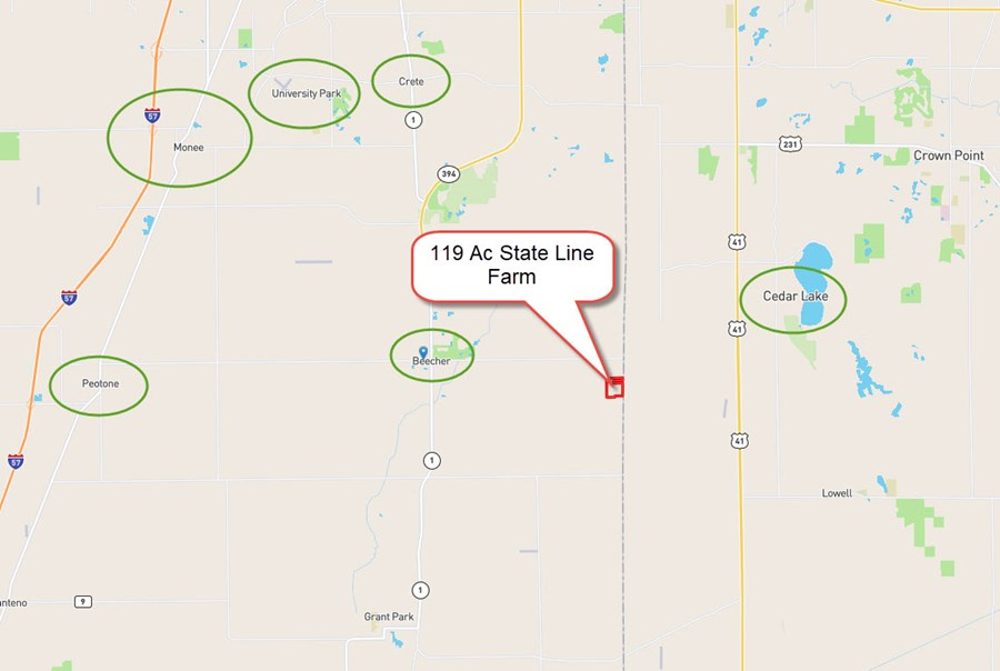 Location Map of 119 Acre State Line Rd Farm