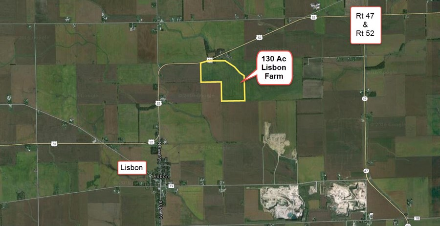 Aerial 2 of the 117.5 acre Lisbon Township farm, Kendall County Illinois