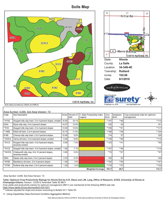 Soil Map of 147 Acre Meadow Lake Estates, Ottawa, IL