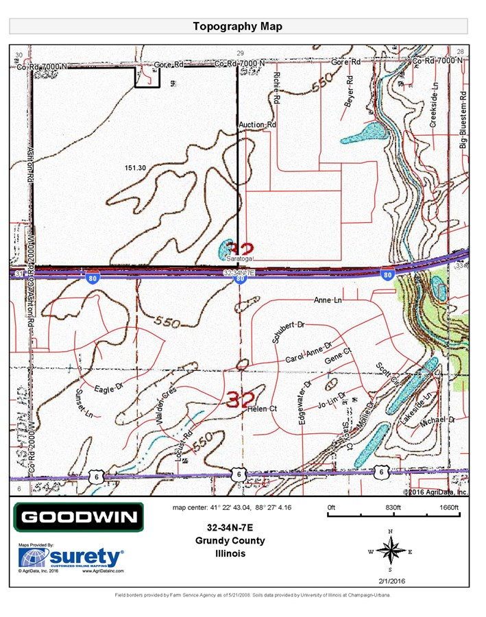 Topographical Map for 155 Acres in Saratoga Township, Grundy County