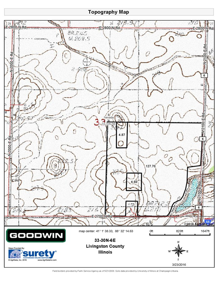 Topographical Map for 140 Acres Nevada Township, Livingston County