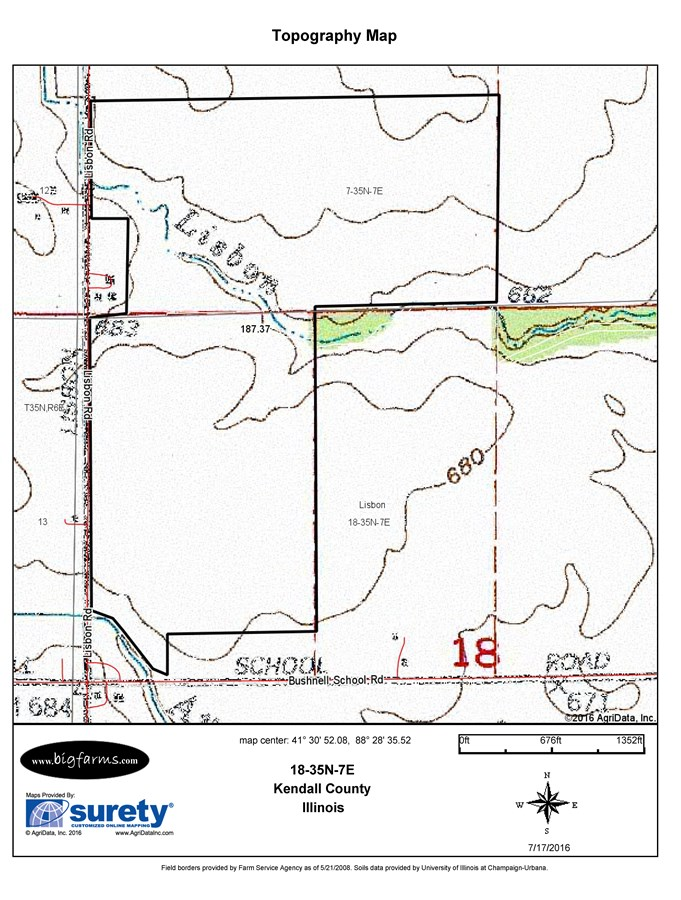 Topographical Map for 190 Acres Lisbon Township, Kendall County