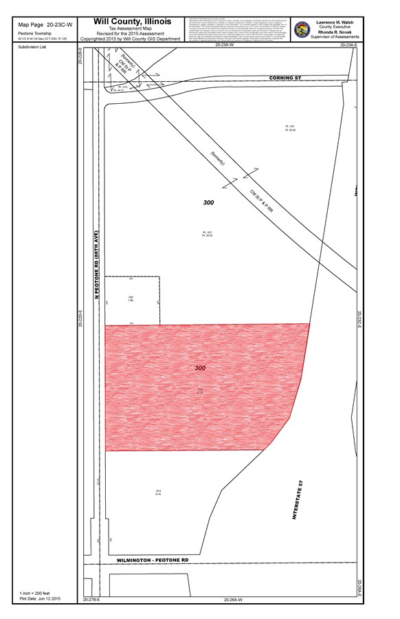 Tax Map of Peotone Township 17 acres