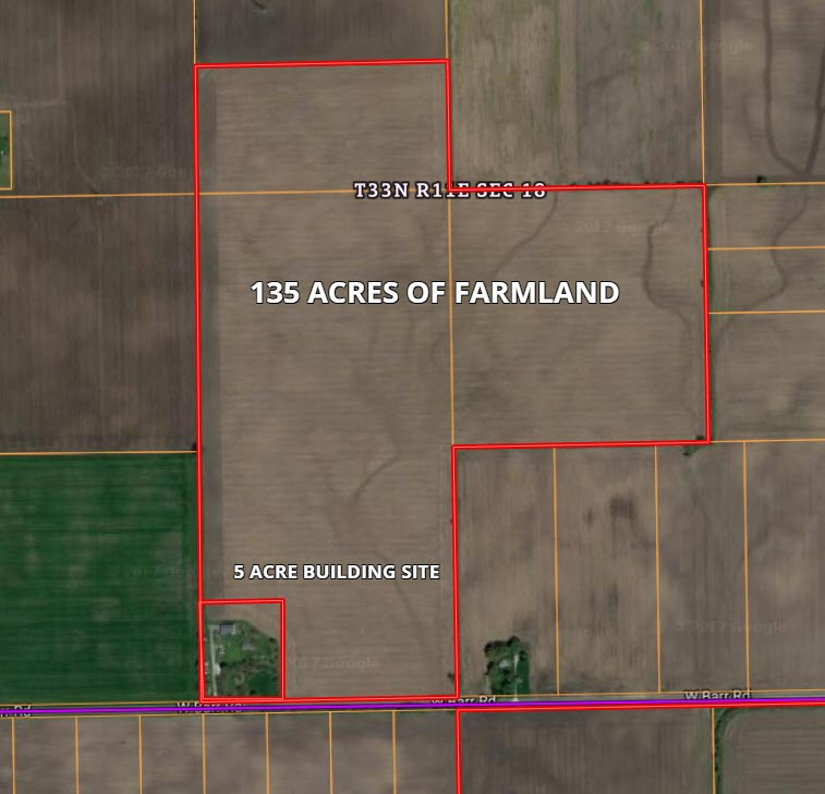 140 Acre Parcel 1 with farmstead in Wilton Township