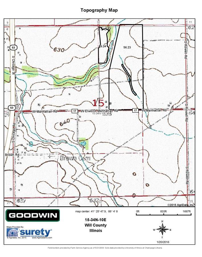 Topographical Map for 68 Acres in Jackson Township, Will County