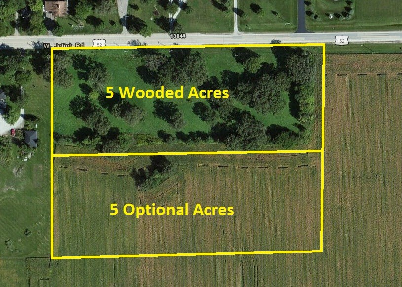 Aerial of 5-10 wooded acres in Wilton Township, Will County