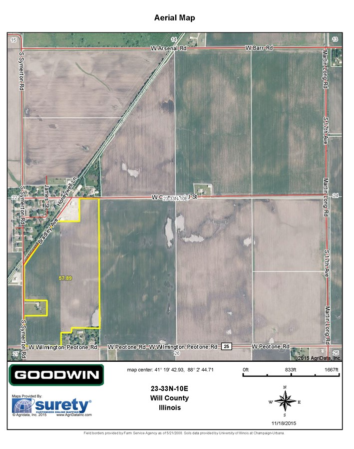 FSA Map of Symerton 58 acres, Florence Township, Will County IL