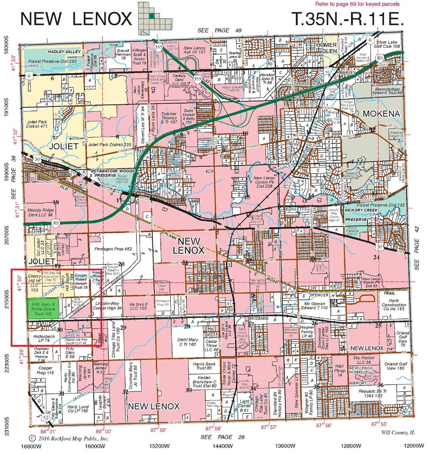 Plat Map of 101 Acre Joliet Industrial site in New Lenox Township