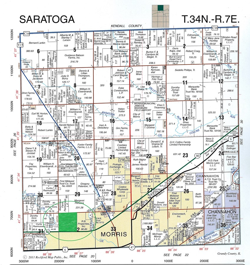 Plat Map of Gore Road 155 Acres, Saratoga Township Grundy County
