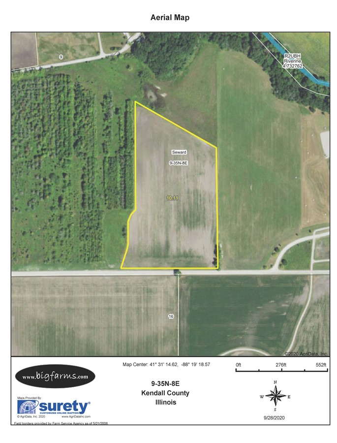 USDA Map of the 10 acres of Tillable land in Seward Township