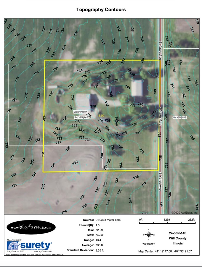 6.1 Acre Beecher Building Site Will County, IL Contours Map