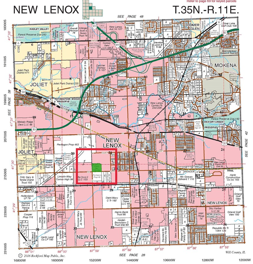 Plat Map of 40 Acre Development site in New Lenox Illinois