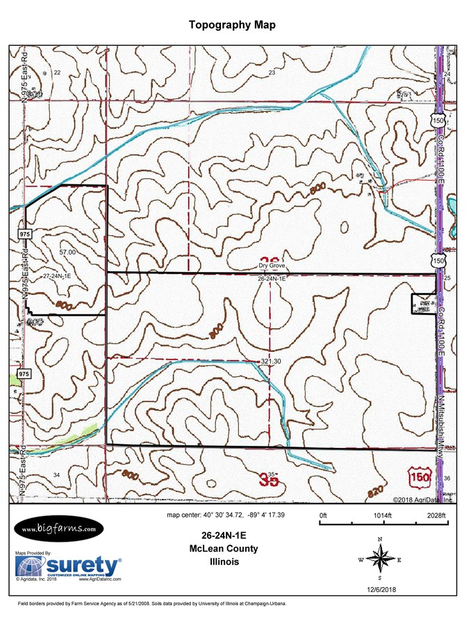 Topographical  Map for the 380 acres