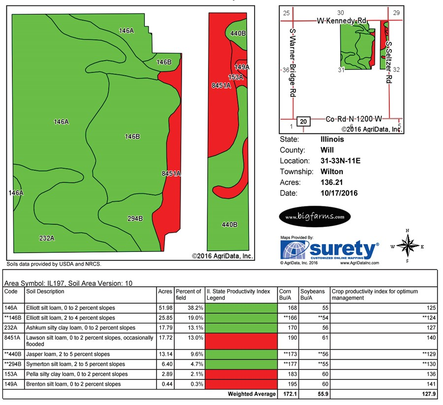 Soil Map for 160 acres in Wilton Township Will County