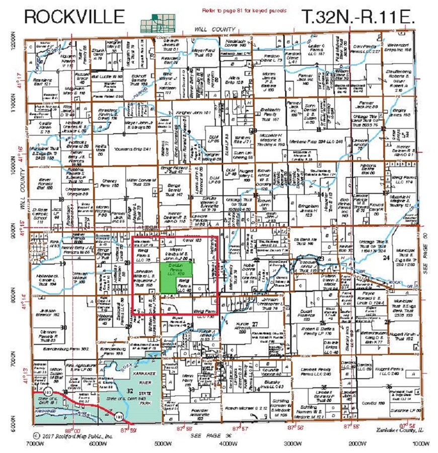 120 Ac Plat Map of Rockville Township, Kankakee County IL.