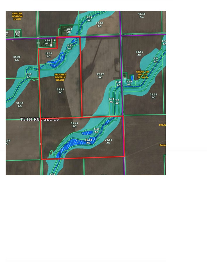Flood Zone Map 155 Acre Gardner Farm Garfield Township, Grundy County, IL