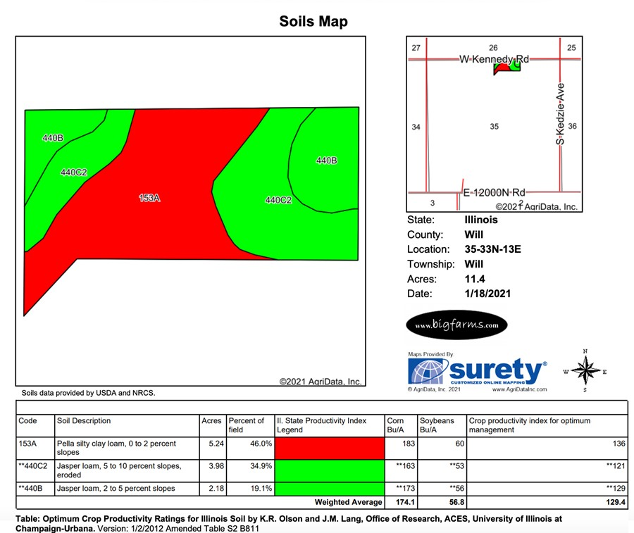 Soil Map 11.3 Acre Peotone House and Buildings Will Township, Will County, IL