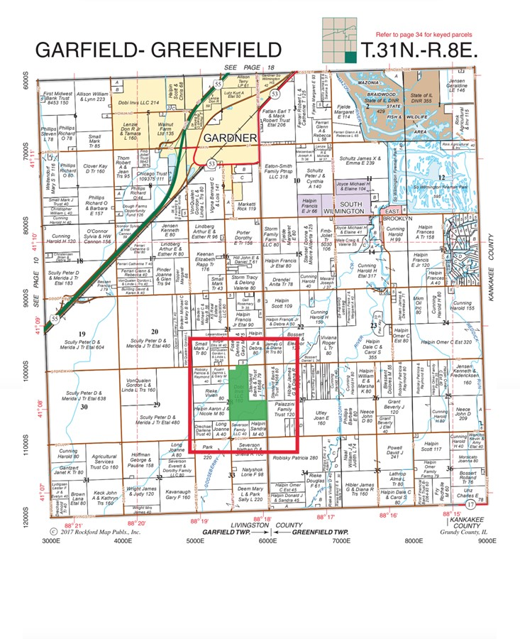 Plat Map 155 Acre Gardner Farm Garfield Township, Grundy County, IL
