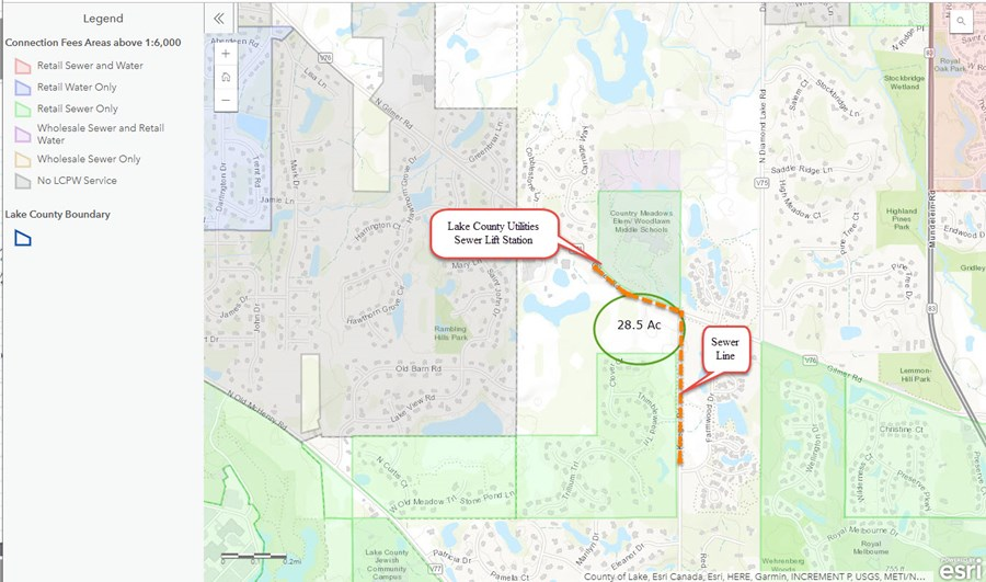 Public Works Map for the 28 Acres Development Site in Long Grove, IL