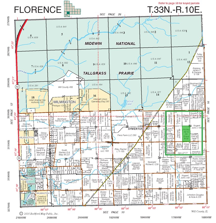 Plat Map of 80 Acres Florence Township, Will County