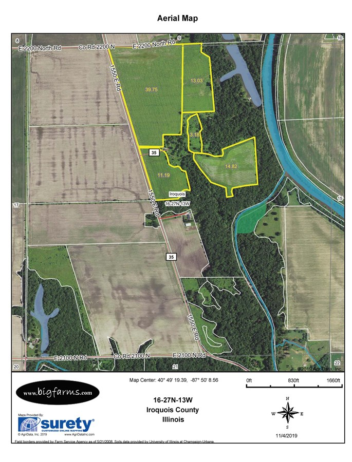 FSA Map of 150 acres in Iroquois Township Recreation Farm