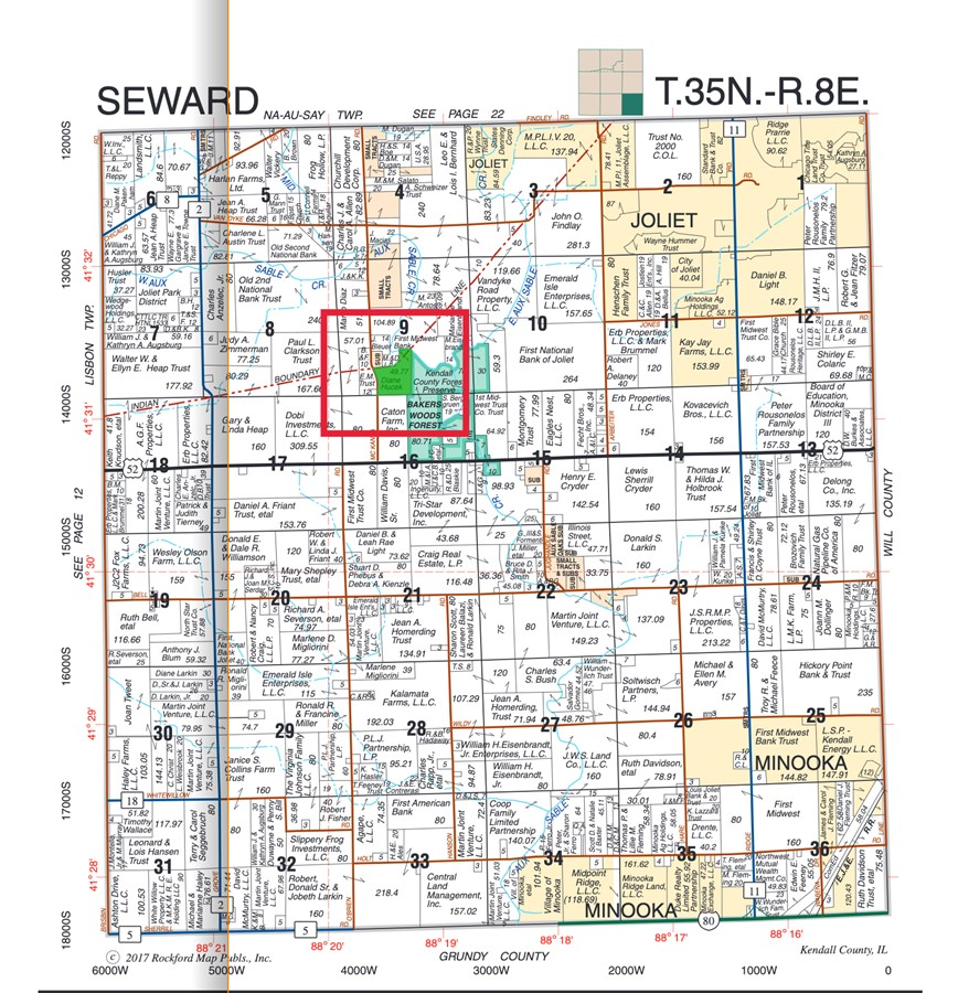 Plat Map for the 50 Acre Seward Township Farm Kendall County