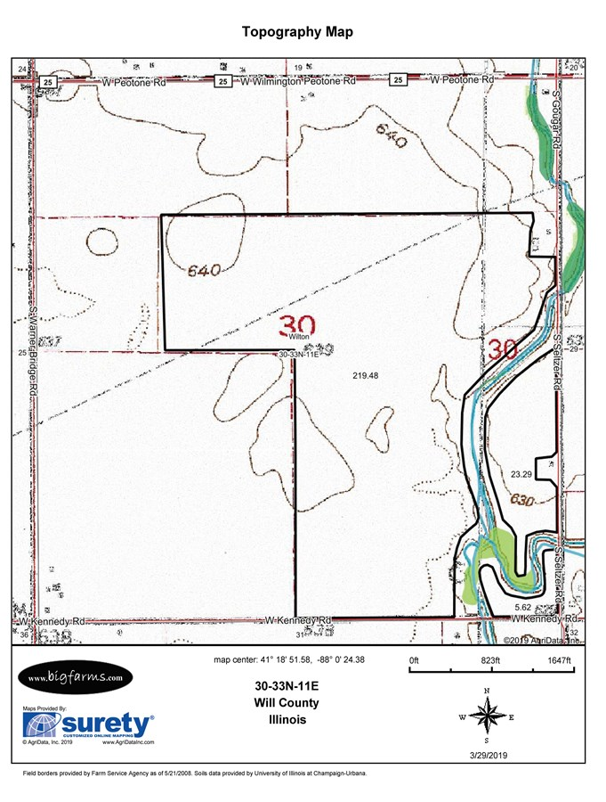 Topographical  Map of Wilton Township 277 acres on South Seltzer Road
