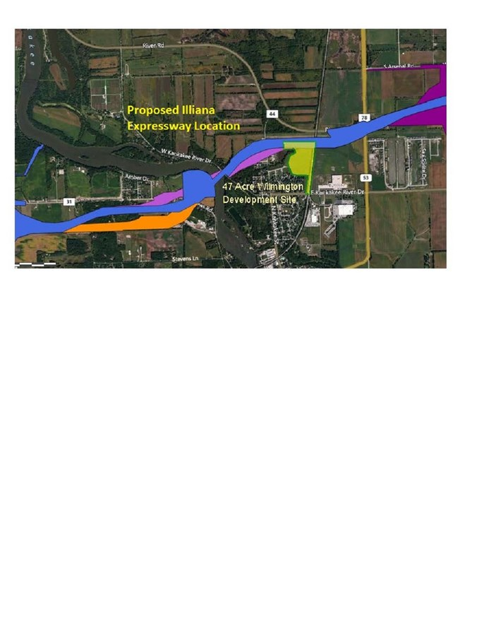 Proposed location of the Illiana Expressway in Will County