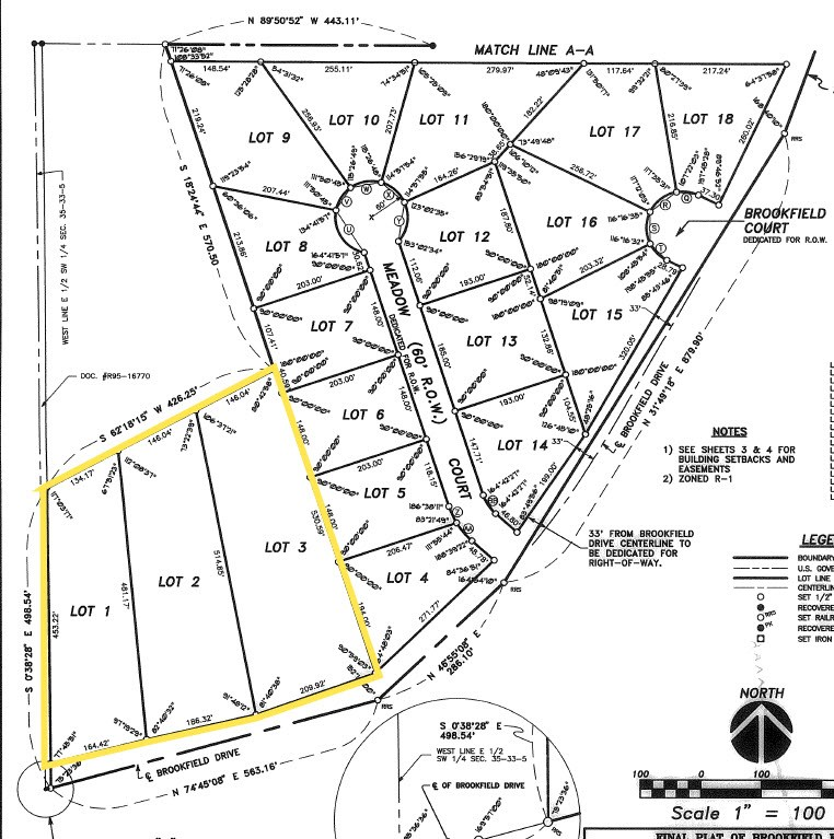 Recorded Plat for lots 1-3 Brookfield Estates, Seneca IL