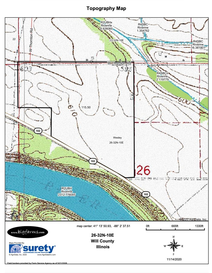 Topography Map Parcel #3 Butterfield Farm Custer Township, Will County