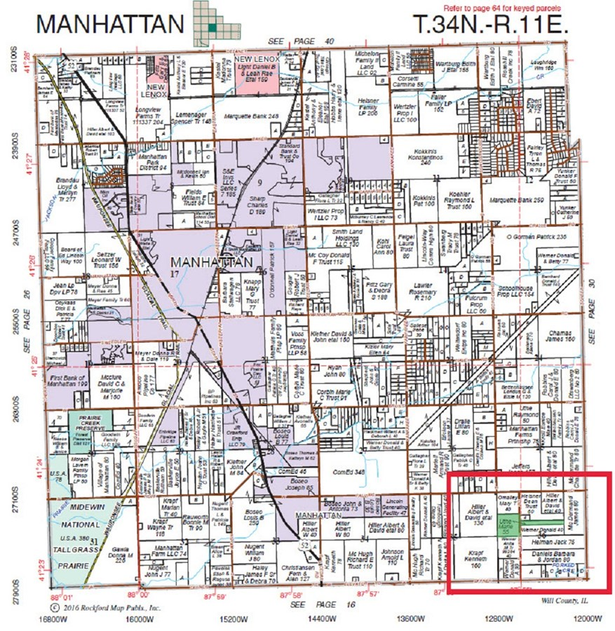 Plat Map of Manhattan Township, Will County Illinois