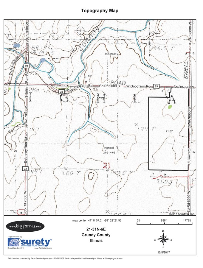 Topographical Map of Parcel 3, 75 Acre Highland Township