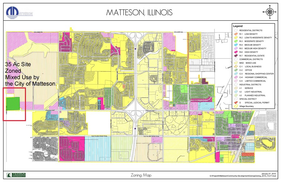 Matteson Zoning Map Showing 35 Acres Development Site