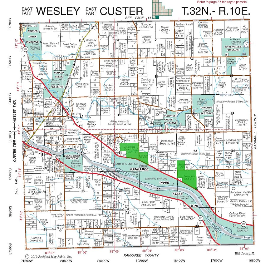 Plat Map of Custer Township Will County Illinois