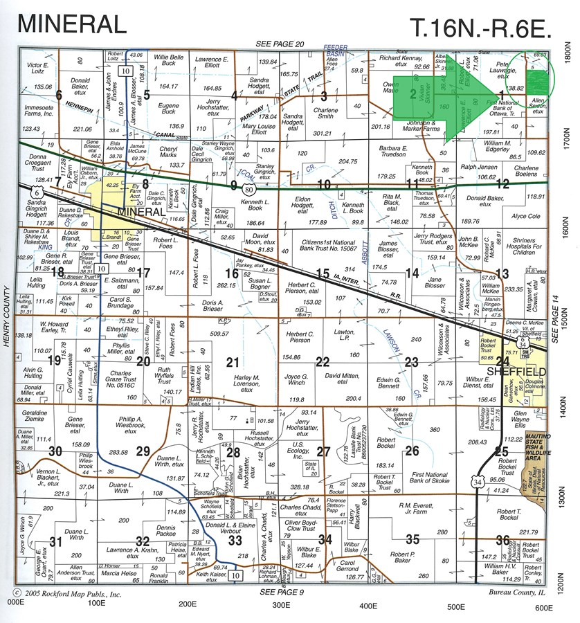 Plat Map of 42 acres in Mineral Township, Bureau County