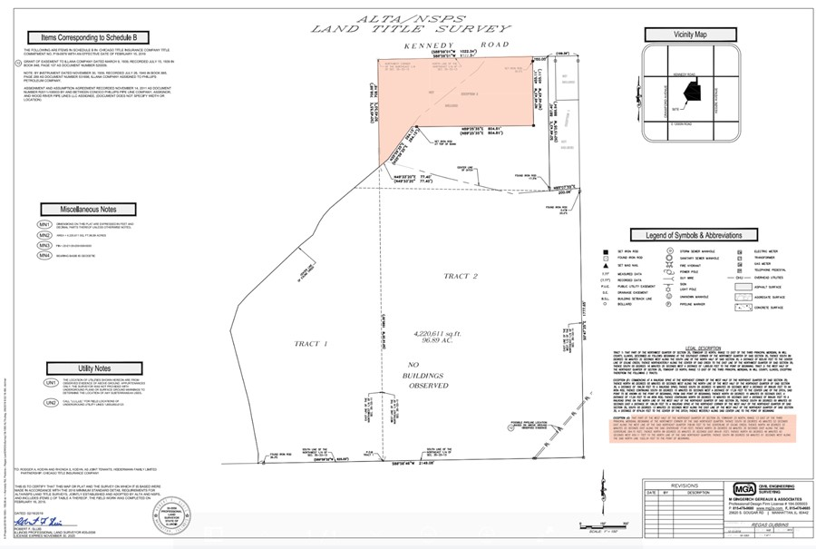 Land Survey 11.3 Acre Peotone House and Buildings Will Township, Will County, IL