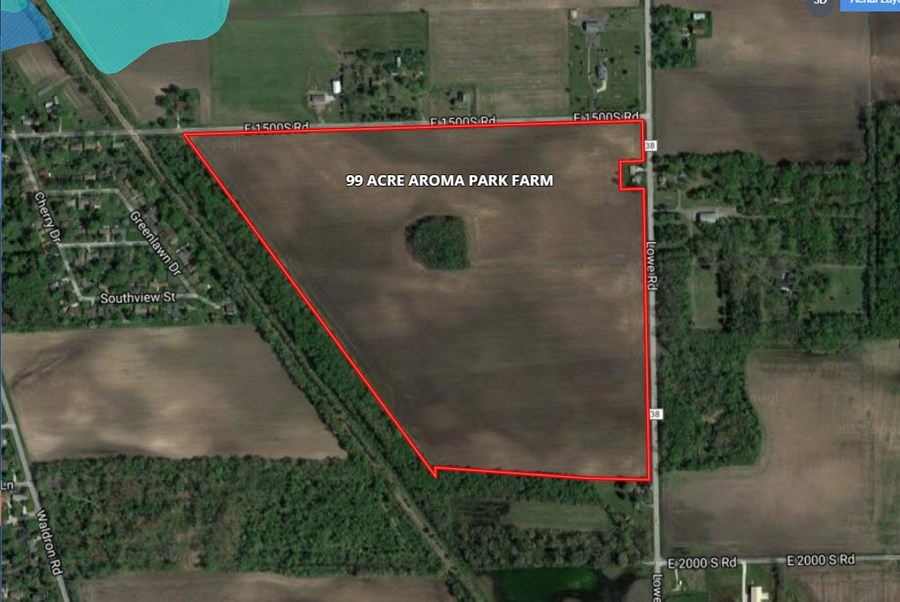 Aerial Map of 99 Acre Aroma Township Farm