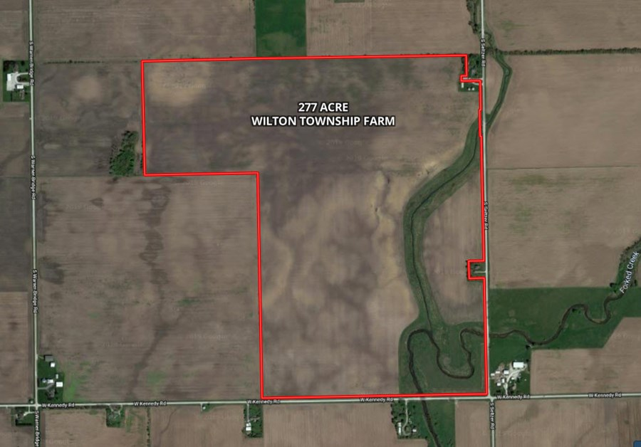 Aerial Map for 277 Acre Wilton Township farm, Will County IL.