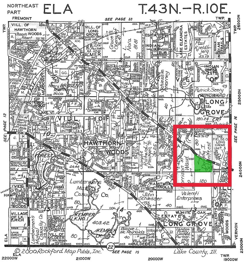 Plat Map for 28 acres in Long Grove, Lake County, IL