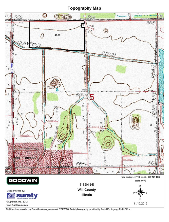 Topographical Map for Braidwood 47 Ac Development Site