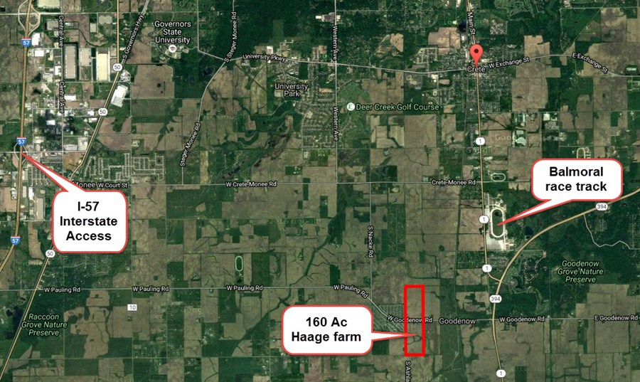 General location aerial map for the 160 acre Crete farm in Will County