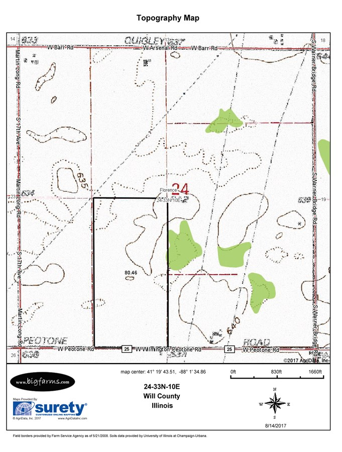 Topographical Map of the 80 Acre Florence Township Farmland