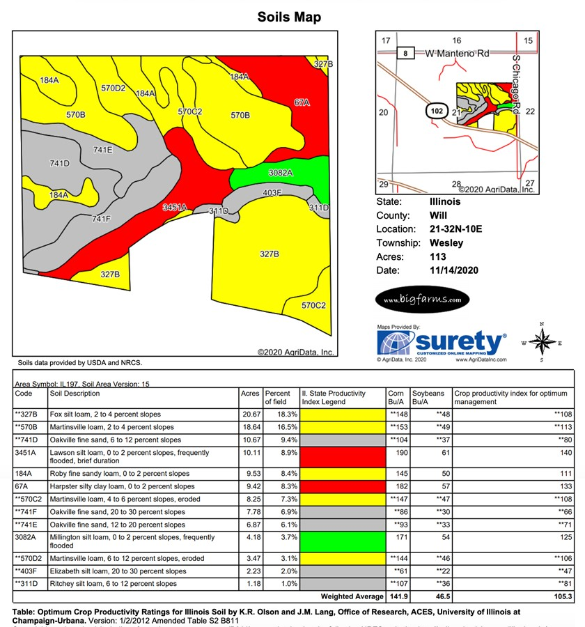 Soil Map Parcel #1 Butterfield Farm Custer Township, Will County