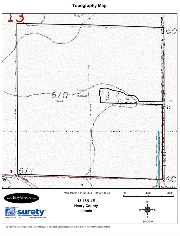 Topography Map 156 Acre Loraine Township Farm, Loraine Township,  Henry County, IL